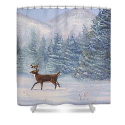 Deer In The Snow Shower Curtain by Denise Fulmer