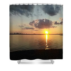 Deer Island Sunset Shower Curtain