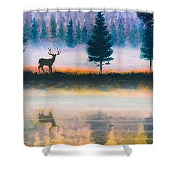 Deer Morning Shower Curtain by Douglas Castleman