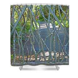 Shower Curtain featuring the photograph Deer Proof Gate by K L Kingston