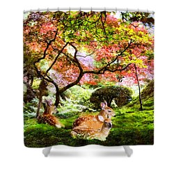 Deer Relaxing In A Meadow Shower Curtain