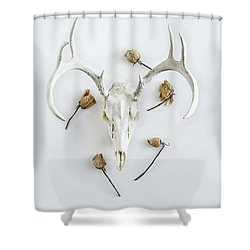 Shower Curtain featuring the photograph Deer Skull With Antlers And Roses by Stephanie Frey