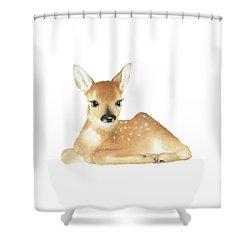 Deer Watercolor Shower Curtain by Taylan Apukovska