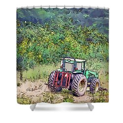 Shower Curtain featuring the photograph Deere In The Wildflowers - Line And Ink Art by Kerri Farley