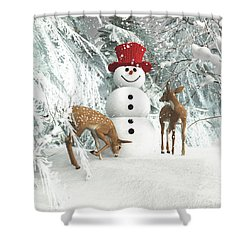 Deers At Chistmas Shower Curtain