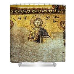 Deesis Mosaic Hagia Sophia-christ Pantocrator-the Last Judgement Shower Curtain