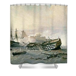 Defence Of The Havana Promontory  Shower Curtain by Rafael Monleon y Torres