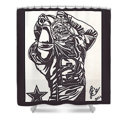 Shower Curtain featuring the drawing Deion Sanders by Jeremiah Colley