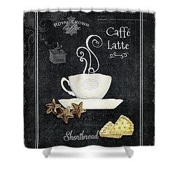 Deja Brew Chalkboard Coffee 2 Caffe Latte Shortbread Chocolate Cookies Shower Curtain by Audrey Jeanne Roberts