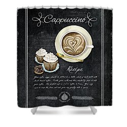 Shower Curtain featuring the painting Deja Brew Chalkboard Coffee 3 Cappuccino Cupcakes Chocolate Recipe  by Audrey Jeanne Roberts