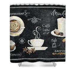 Deja Brew Chalkboard Coffee Cappuccino Mocha Caffe Latte Shower Curtain by Audrey Jeanne Roberts