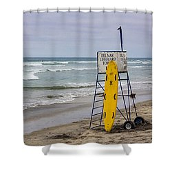 Del Mar Lifeguard Tower Shower Curtain