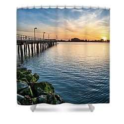 Del Norte Pier And Spring Sunset Shower Curtain by Greg Nyquist