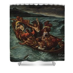 Shower Curtain featuring the painting Delacroix Christ Asleep by Granger