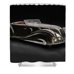 Shower Curtain featuring the digital art Delahaye 1930's Art In Motion by Marvin Blaine