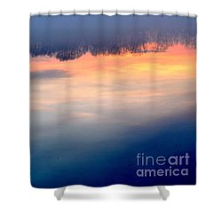 Delaware River Abstract Reflections Foggy Sunrise Nature Art Shower Curtain