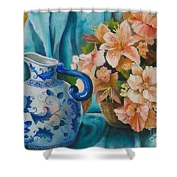 Shower Curtain featuring the painting Delft Pitcher With Flowers by Marlene Book
