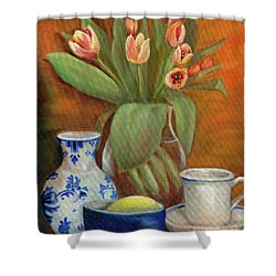 Delft Vase And Mini Tulips Shower Curtain