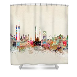 Shower Curtain featuring the painting Delhi City Skyline by Bri B