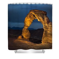 Delicate Arch At Night Shower Curtain by Adam Romanowicz