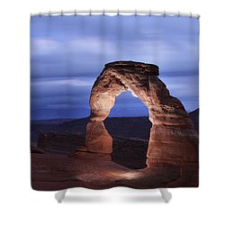 Shower Curtain featuring the photograph Delicate Arch At Twilight by Marie Leslie