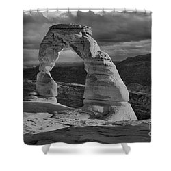 Delicate Arch Black And White Sunset Shadow Shower Curtain