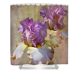 Delicate Gold And Lavender Iris Shower Curtain by Phyllis Denton