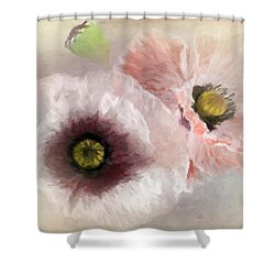 Delicate Pastel Poppies Shower Curtain