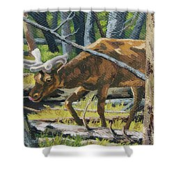 Shower Curtain featuring the painting Delicious Greens, Yellowstone by Erin Fickert-Rowland