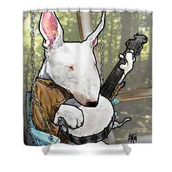 Deliverance Bull Terrier Caricature Art Print Shower Curtain