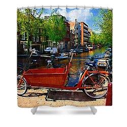 Delivery Bike Shower Curtain by Tom Reynen