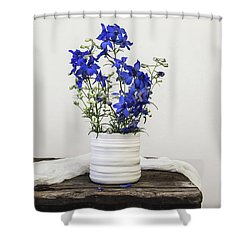 Shower Curtain featuring the photograph Delphinium Blue by Kim Hojnacki