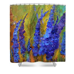 Delphiniums Shower Curtain by Claire Bull