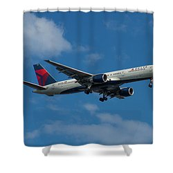 Delta Air Lines 757 Airplane N668dn Shower Curtain by Reid Callaway