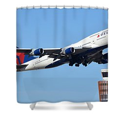 Delta Boeing 747-451 N674us Phoenix Sky Harbor January 12 2015 Shower Curtain by Brian Lockett