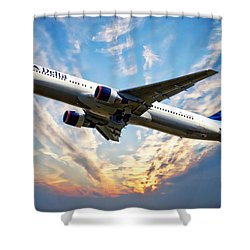 Delta Passenger Plane Shower Curtain