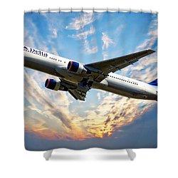 Delta Passenger Plane Shower Curtain by Anthony Dezenzio