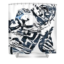Shower Curtain featuring the mixed media Demarco Murray Tennessee Titans Pixel Art 2 by Joe Hamilton