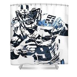 Demarco Murray Tennessee Titans Pixel Art Shower Curtain by Joe Hamilton