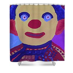 Shower Curtain featuring the painting Demented Clownboy by Don Koester