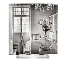 Shower Curtain featuring the photograph Demijohn And Window Cadiz Spain by Pablo Avanzini