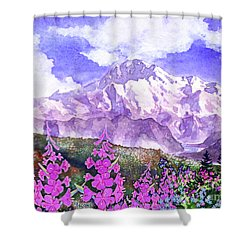 Denali With Fireweed Shower Curtain