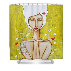 Shower Curtain featuring the mixed media Denham by Natalie Briney