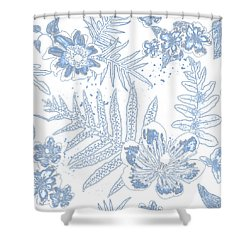 Denim Fern Batik Outline Shower Curtain