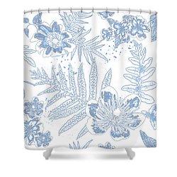 Denim Fern Batik Outline Shower Curtain