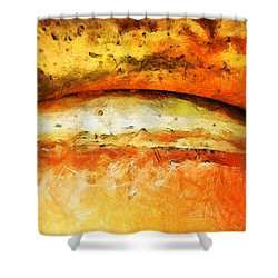 Shower Curtain featuring the painting Dentro Il Sogno Arancione by Sir Josef - Social Critic - ART