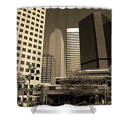 Shower Curtain featuring the photograph Denver Architecture Sepia by Frank Romeo