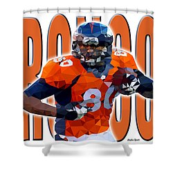 Shower Curtain featuring the digital art Denver Broncos by Stephen Younts