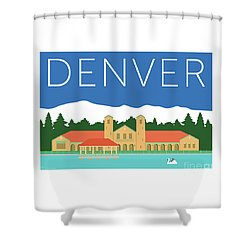 Denver City Park/blue Shower Curtain