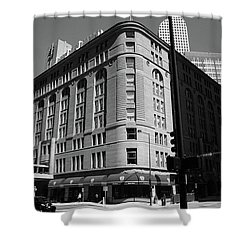 Denver Downtown Bw Shower Curtain by Frank Romeo